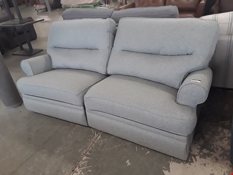 Lot 16 QUALITY BRITISH DESIGNER DUCK EGG BLUE FABRIC MANUAL RECLINING THREE SEATER SOFA