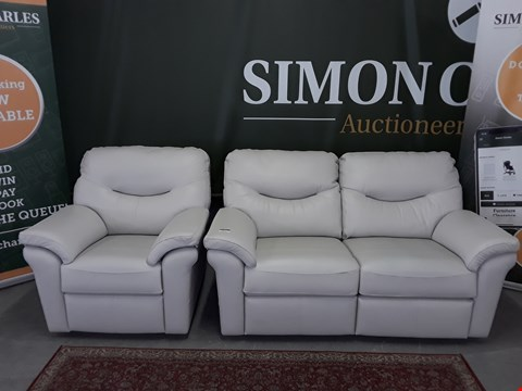 Lot 8014 QUALITY DESIGNER BRITISH MADE WOODEN FRAME WHITE/CREAM LEATHER ELECTRIC RECLINING 2 SEATER SOFA WITH 2 MATCHING ARMCHAIRS