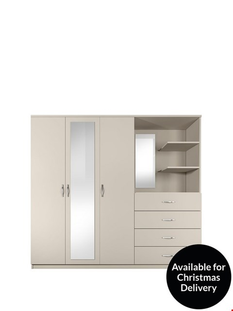 Lot 9028 BOXED GRADE 1 PERU WHITE 4-DOOR 4-DRAWER COMBINATION WARDROBE (BOX 2 AND 3 OF 4 BOXES ONLY) (2 BOXES ONLY) RRP £499.99