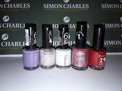 Lot 13 LOT OF 5 ASSORTED RIMMEL LONDON NAIL POLISHES