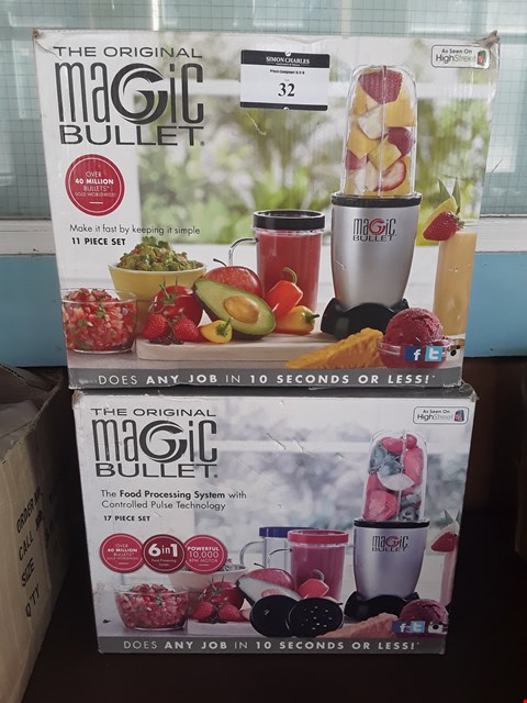 Lot 32 TWO ORIGIONAL MAGIC BULLET FOOD PROCESSING SYSTEMS