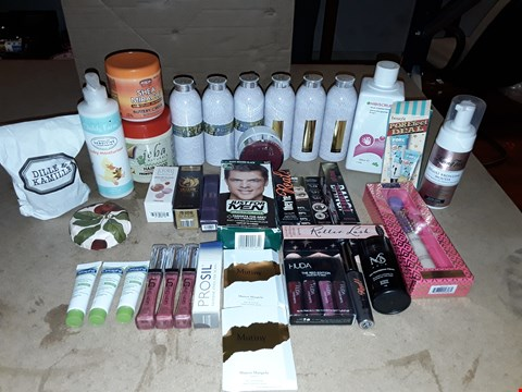 Lot 2080 BOX OF APPROXIMATELY 35 COSMETICS TO INCLUDE CYMBELLINE TALCUM POWDER, BAYLIS & HARDING ENGLAND LIMITED EDITION BATH SOAK, JEBA NATURALS HAIR FOOD, ECT (BOX NOT INCLUDED)