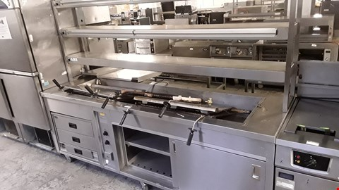Lot 54 HEATED SERVERY TROLLEY WITH 3 TIER GANTRY, BAIN MARIE TOP & LINCAT HEATED 3 DRAWERS UNIT & CUPBOARD BASE