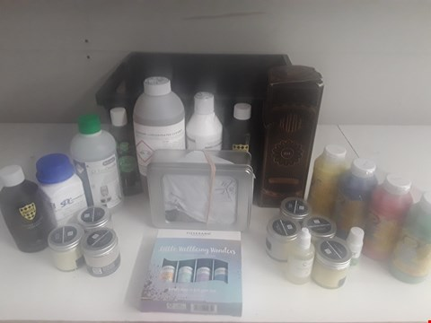 Lot 169 BOX OF APPROXIMATELY 20 ASSORTED ITEMS TO INCLUDE LEATHER RESTORER, PAINT, DISINFECTANT ETC