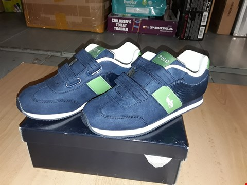 Lot 12474 BOXED POLO RALPH LAUREN NAVY/GREEN DUMA EZ TRAINERS UK SIZE 2.5