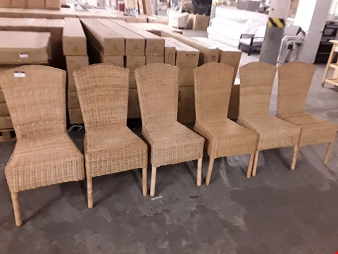 Lot 713 LOT OF 6 RATTAN EFFECT DINING CHAIRS - NATURAL