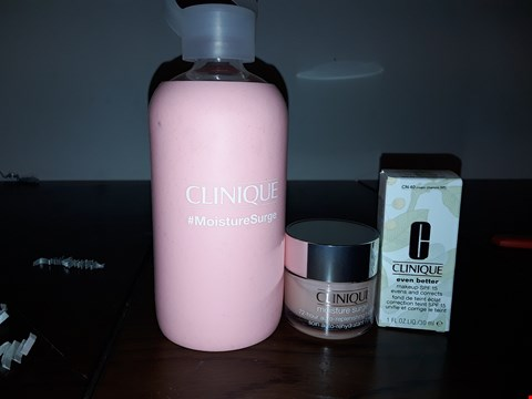 Lot 2102 LOT OF 3 CLINIQUE ITEMS TO INCLUDE MOISTURE SURGE 72 HOUR AUTO-REPLENISHING HYDRATOR, EVEN BETTER MAKEUP SPY 15 AND MOISTURE SURGE DRINKS BOTTLE