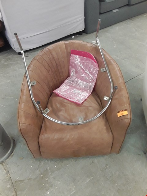 Lot 203 QUALITY ITALIAN DESIGNER BROWN LEATHER ARMCHAIR