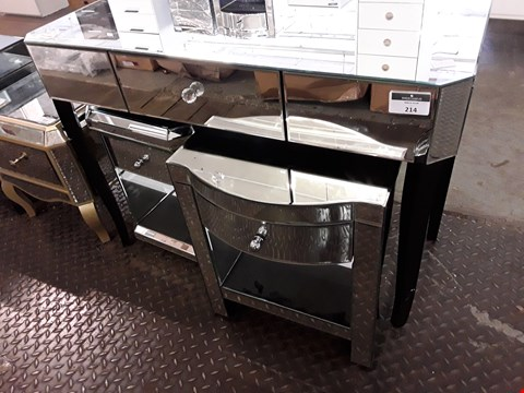 Lot 214 DESIGNER VEGAS MIRRORED DRESSING TABLE WITH TWO MIRRORED BEDSIDE CABINETS