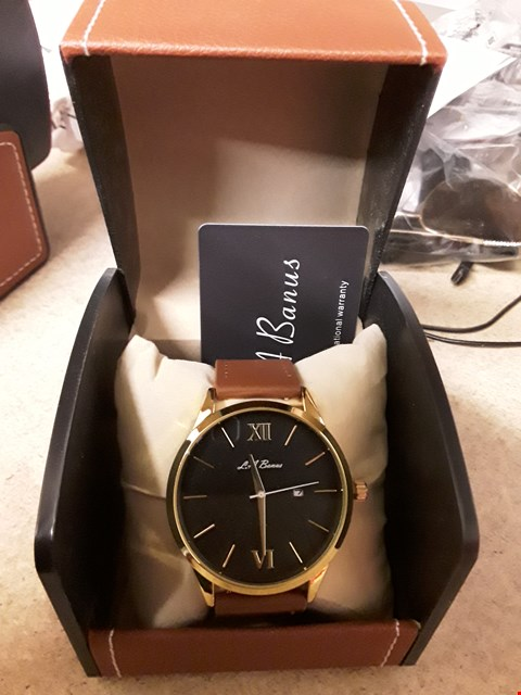 Lot 68 DESIGNER LA BANUS ROMAN  NUMERAL WRISTWATCH WITH BLACK DIAL AND BROWN  STRAP RRP £425