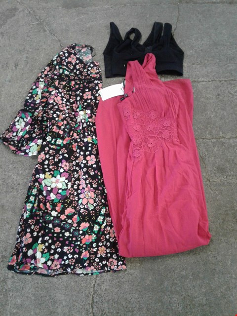 Lot 227 BOX OF APPROXIMATELY 25 CLOTHING ITEMS TO INCLUDE BLACK SPORTSBRA, RED FLORAL PATTERN DRESS AND BLACK FLORAL PATTERN DRESS