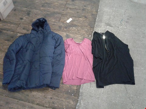 Lot 216 BOX OF APPROXIMATELY 20 CLOTHING ITEMS TO INCLUDE BLACK ZIP UP TOP, PINK SHIRT WITH SEQUIN PATTERN AND NAVY COAT - VARIOUS SIZES