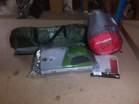 Lot 256 LOT OF 3 BRAND NEW CAMPING ITEMS TO INCLUDE ASHFORD JUNIOR 300 SLEEPING BAG, LARGE WIND BREAK AND  EVENT SHELTER XL RRP £260.00