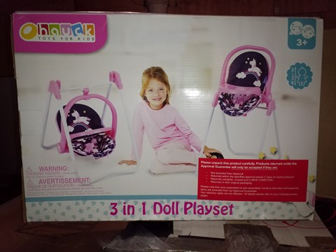 Lot 461 LOT OF 2 GRADE 1 UNICORN 3 IN 1 DOLL HIGHCHAIR AND SWING RRP £50.00