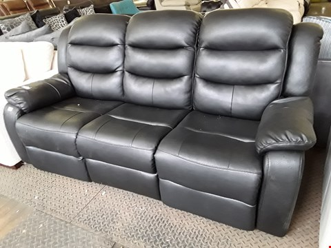 Lot 6 DESIGNER BLACK FAUX LEATHER MANUAL RECLINING THREE SEATER SOFA