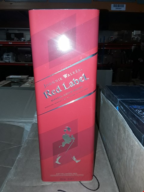 Lot 1044 BOX OF APPROXIMATELY 6 JOHNIE WALKER RED LABEL TINS (BOTTLE NOT INCLUDED)