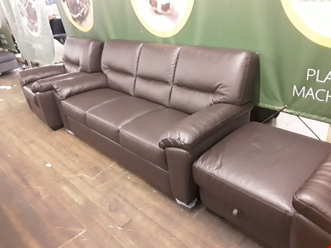 Lot 169 BRAND NEW QUALITY DESIGNER ITALIAN BROWN LEATHER SUITE, COMPRISING 3-SEATER SOFA, ARMCHAIR AND STORAGE FOOTSTOOL