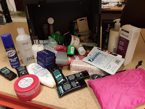 Lot 9011 TRAY OF APPROXIMATELY 60 ITEMS OF ASSORTED BEAUTY PRODUCTS INCLUDING, CHARCOAL MASKS, HAIR WAX, ACETONE, EXFOLIATING CLEANSER, 2 IN 2 BATH WASH, (TRAY NOT INCLUDED)