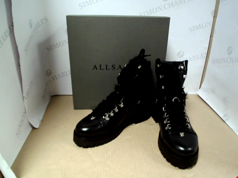 Lot 7076 ALLSAINTS FRANKA SHEARLING CHUNKY BLACK BOOTS- SIZE 7 UK