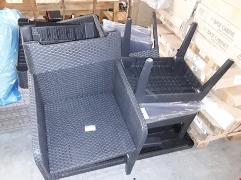 Lot 404 LOT OF BLACK RATTAN LOOK GARDEN FURNITURE ITEMS TO INCLUDE TABLE TOP, SMALL TABLES, CUSHIONS  AND 2 CHAIRS