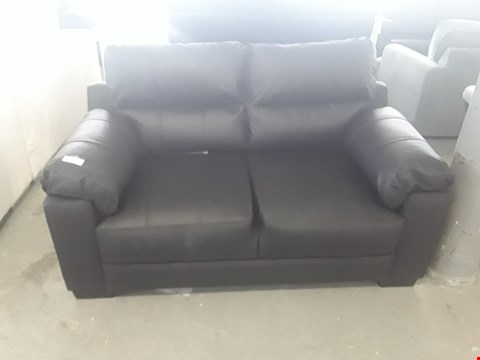 Lot 2 DESIGNER BLACK LEATHER COMPACT 2 SEATER SOFA