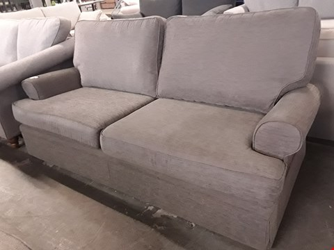 Lot 83 QUALITY BRITISH DESIGNER BERKLEY MINK FABRIC THREE SEATER SOFA