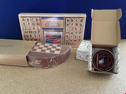 Lot 5041 FOUR ASSORTED BOXED TOYS, INCLUDING ALPHABET STAMP SET, TWO OX THE GAME AND WOODEN CHECKERS