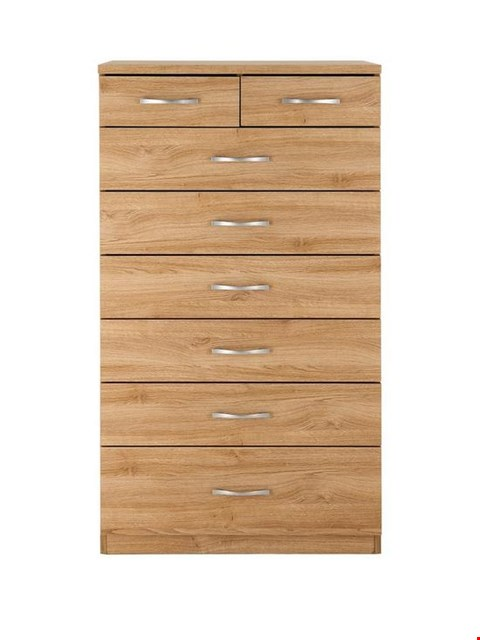 Lot 8 BOXED DESIGNER OAK-EFFECT PERU 6+2 DRAWER CHEST (1 BOX) RRP £169