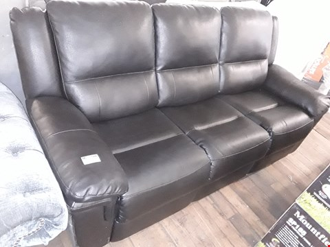 Lot 393 DESIGNER BLACK FAUX LEATHER MANUAL RECLINING THREE SEATER SOFA