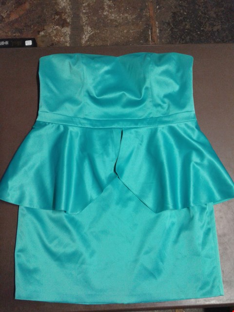 Lot 90 TEATRO FITTED STRAPLESS TURQUOISE DRESS SIZE 18