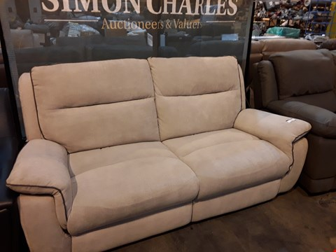 Lot 9039 DESIGNER NATURAL FABRIC MANUAL RECLINING THREE SEATER SOFA WITH CONTRAST TRIM