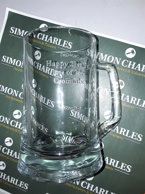 Lot 7768 PERSONALISED DECROTIVE GLASS TANKARD RRP £20.00