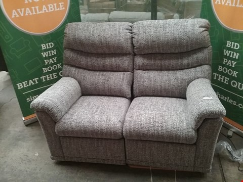 Lot 9 QUALITY BRITISH MADE HARDWOOD FRAMED GREY FABRIC RECLINING 2 SEATER SOFA