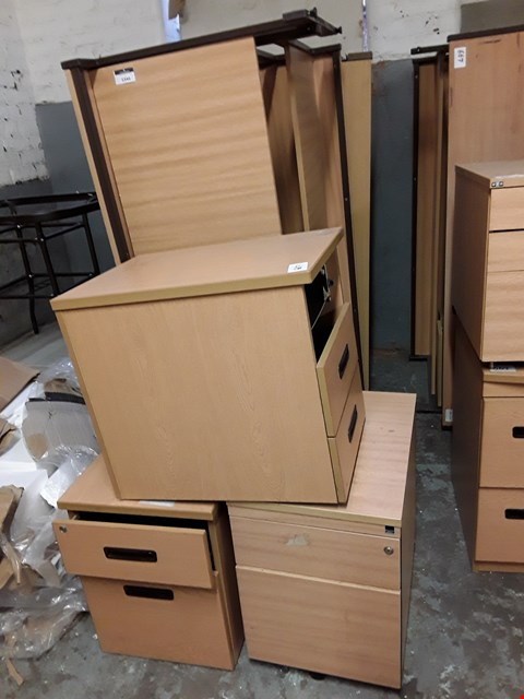 Lot 7249 LOT OF 7 ASSORTED OFFICE FURNITURE ITEMS INCLUDES 4 LARGE DESKS AND 3 DRAWERED CABINETS