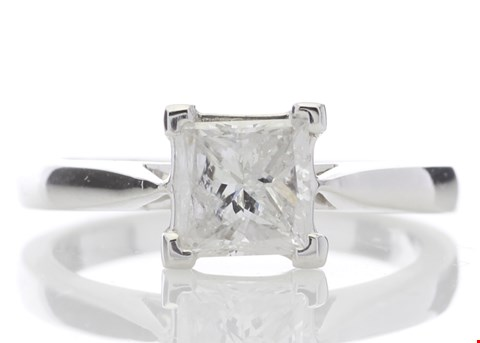 Lot 10 18ct WHITE GOLD SINGLE STONE PRINCESS CUT DIAMOND RING 1.01CT RRP £13707