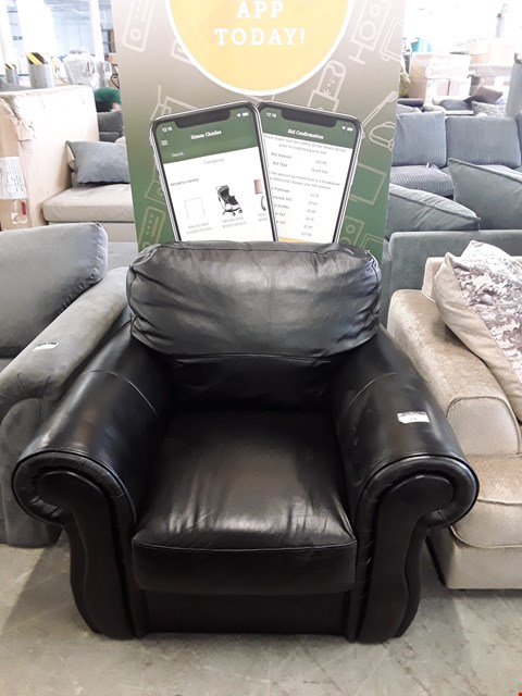Lot 14 DESIGNER BLACK FAUX LEATHER ARMCHAIR