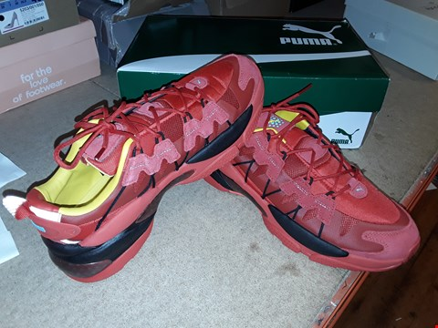 Lot 4759 BOXED PUMA RUNNING SHOES - SIZE 9, RED