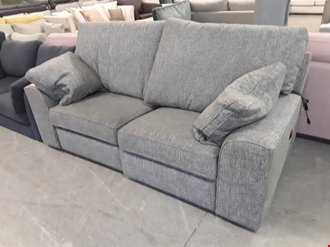Lot 199 QUALITY BRITISH DESIGNER CHARCOAL WEAVE FABRIC POWER RECLINING 2 SEATER SOFA