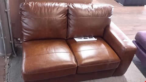 Lot 5 DESIGNER TAN FAUX LEATHER 2 SEATER SECTION