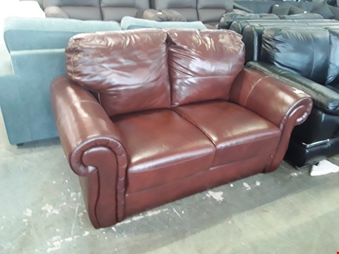 Lot 64 DESIGNER BROWN LEATHER SCROLL ARM 2 SEATER SOFA