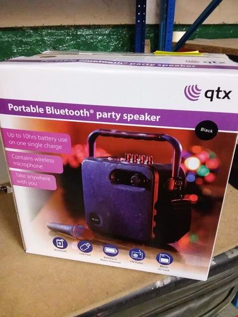 Lot 1 BRAND NEW BOXED QTX PORTABLE BLUETOOTH PARTY SPEAKER - BLACK RRP £59.99