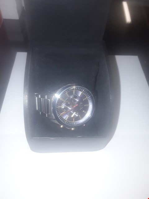 Lot 1108 ARMANI EXCHANGE MENS WATCH STAINLESS STEEL CASE AND BRACELET, BLUE DIAL WITH GOLD TONE ACCENTS RRP £249