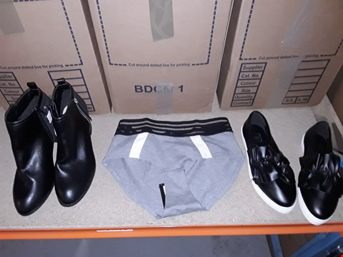 Lot 9359 4 BOXES OF APPROXIMATELY 134 ASSORTED CLOTHING AND FOOTWEAR ITEMS INCLUDING BLACK/GREY SPOTS LUXE SHORTS, BLACK PUMPS AND BLACK BOOTS- VARIOUS SIZES