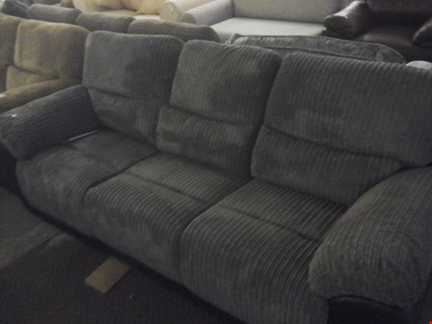 Lot 83 DESIGNER CORDED GREY FABRIC 3 SEATER RECLINER SOFA