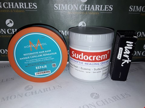 Lot 78 BOX OF ASSORTED COSMETIC ITEMS TO INCLUDE MOROCCANOIL HAIR MASK, SUDOCREM ANTISEPTIC CREAM, MARK LIPSTICK ETC