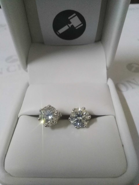 Lot 5 18CT WHITE GOLD STUD EARRINGS SET WITH DIAMONDS WEIGHING +4.08CT RRP £36000.00