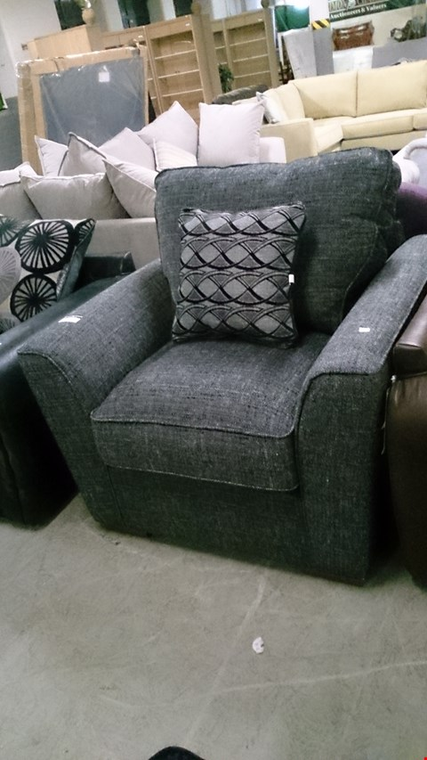 Lot 1232 DESIGNER GREY FABRIC ARM CHAIR