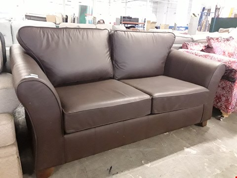 Lot 86 QUALITY BRITISH DESIGNER BROWN LEATHER THREE SEATER SOFA