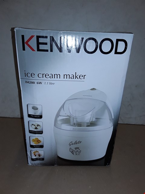 Lot 8036 BOXED KENWOOD IM200 6W 1.1L ICE CREAM MAKER