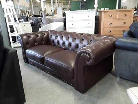 Lot 99 DESIGNER BROWN LEATHER CHESTERFIELD STYLE 3 SEATER SOFA